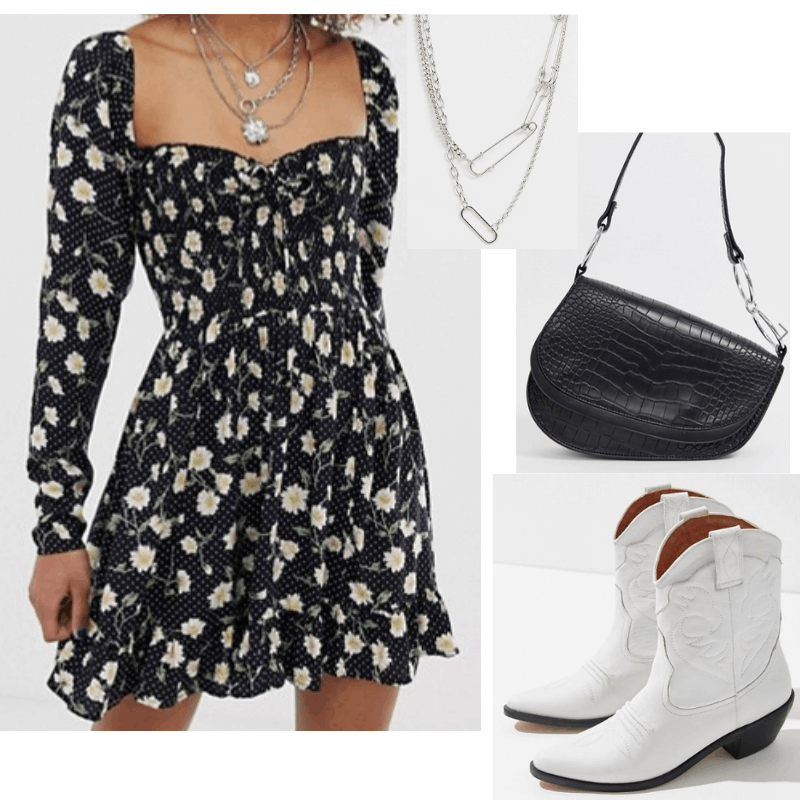 Cowboy boots and sundress outfit with white cowboy boots, floral print dress, saddle bag, and silver necklace