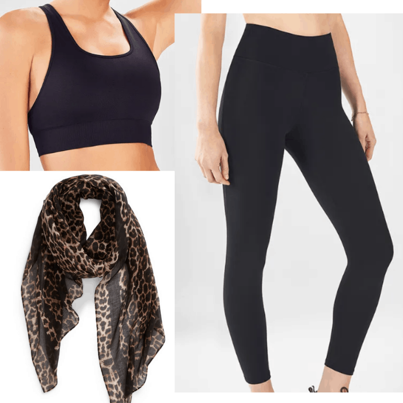 Kylie Jenner inspired vacation outfits: Black leggings, black sports bra, leopard scarf
