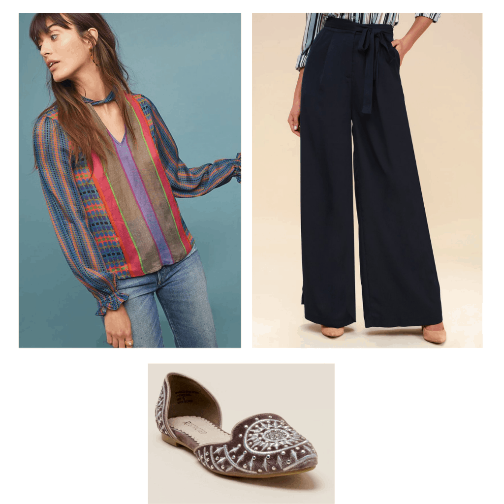 Cute bohemian outfit for work with colorful blouse, wide leg pants, embellished flats
