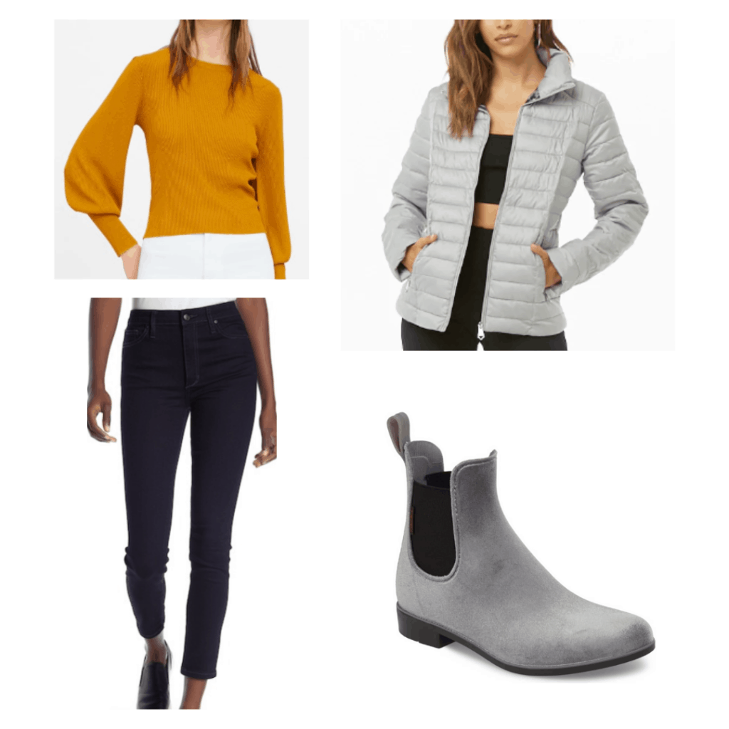 yellow puff sleeve sweater, gray puffer jacket, skinny jeans, gray waterproof booties