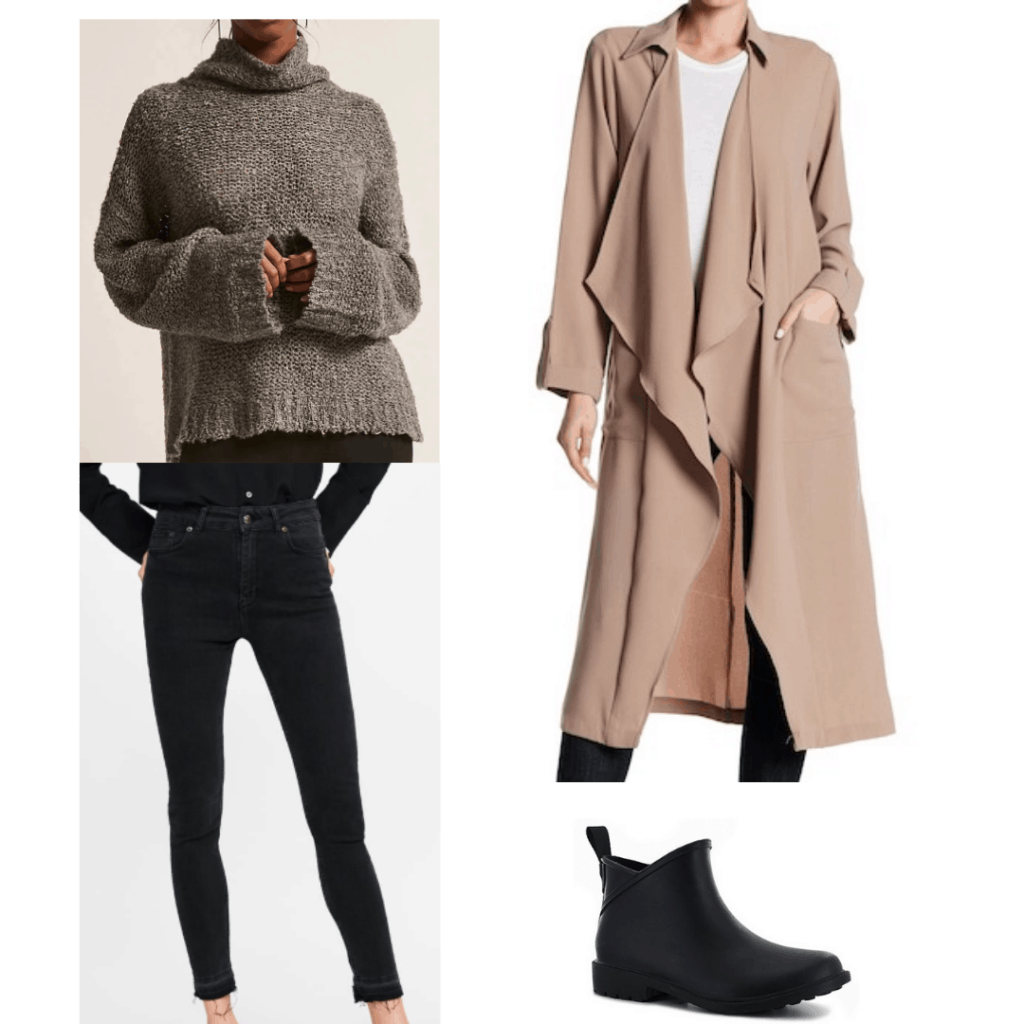 camel trench coat, waterproof booties, open knit sweater, classic black skinny jeans