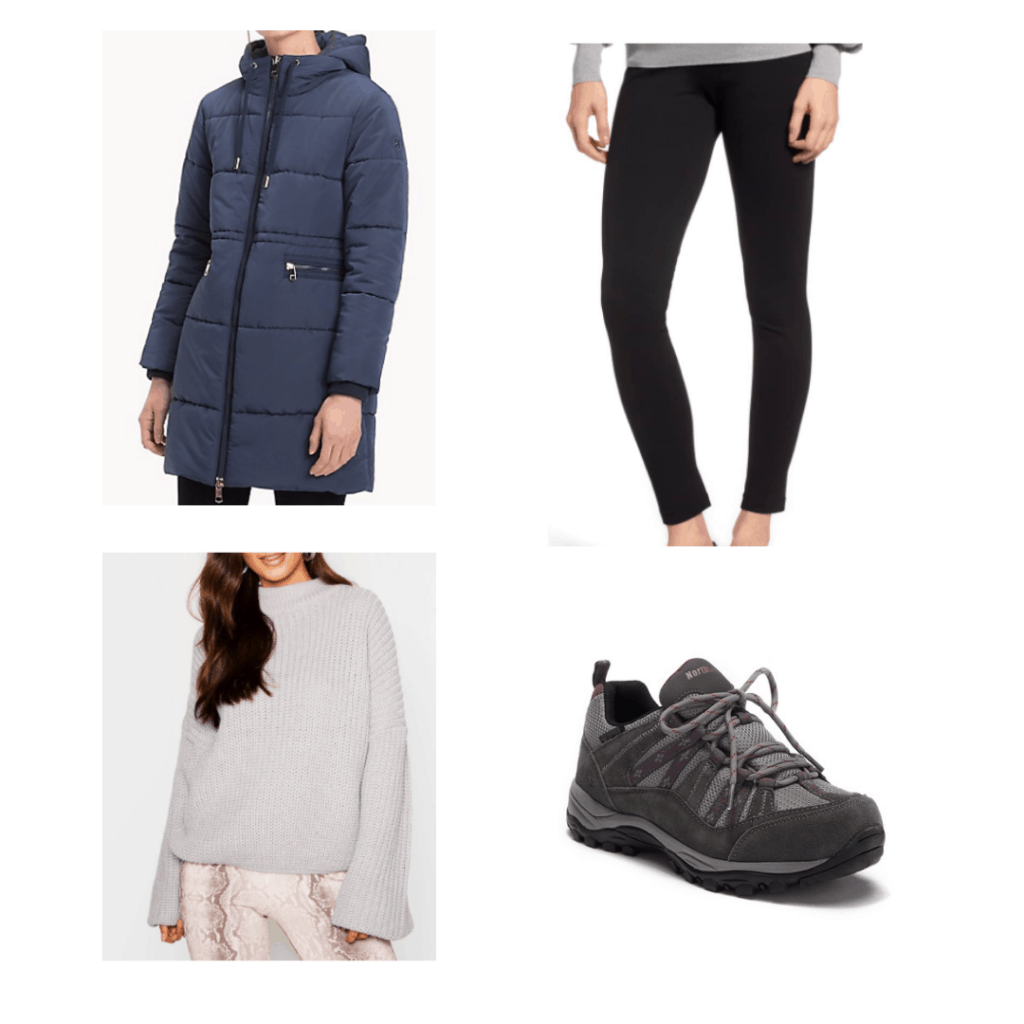 blue puffer coat, black leggings, white sweater, waterproof sneakers