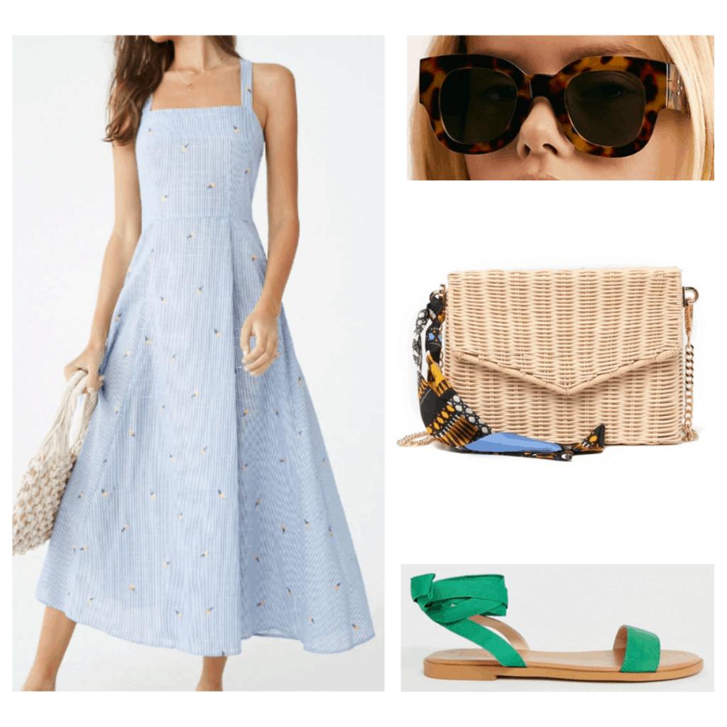 What to wear in Cappadocia - blue pinstripe dress, tortoise sunglasses, wicker purse, green tie sandals