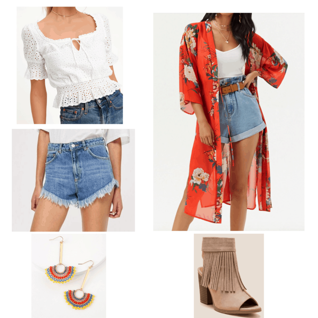 Boho outfits: Look with white lace top, printed kimono, cutoff denim shorts, fringe booties, colorful earrings