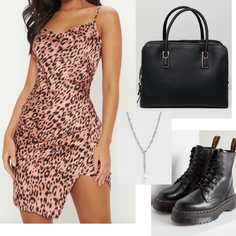 Sundress and boots outfit for spring: Cheetah print dress, platform boots, long necklace
