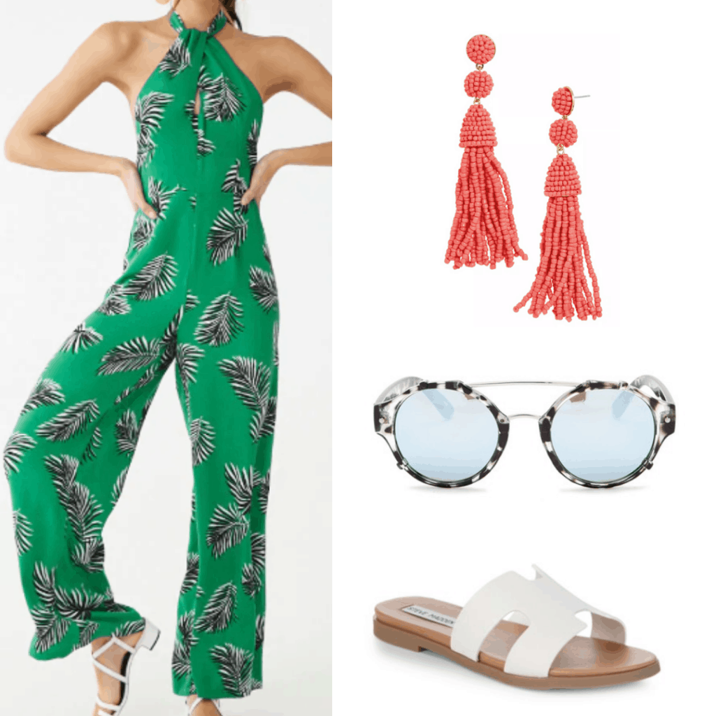 green leaf jumpsuit, coral earrings, tortoiseshell sunglasses, white sandals