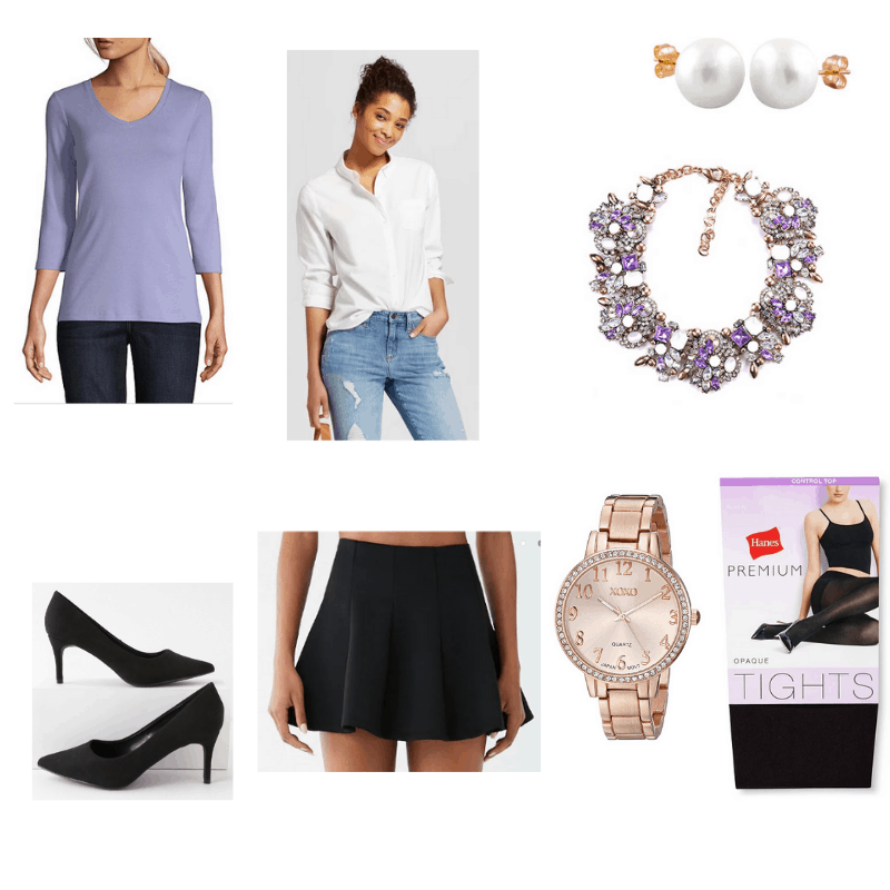 Classy mini skirt outfit with light purple t-shirt, white button-down, black mini skirt, black tights, black pumps, watch, pearl earrings, and purple statement necklace.