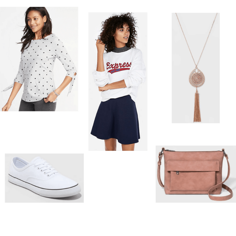 Comfy Day Date outfit with polka dot top, navy miniskirt, white sneakers, blush crossbody purse, and tassel pendant necklace.