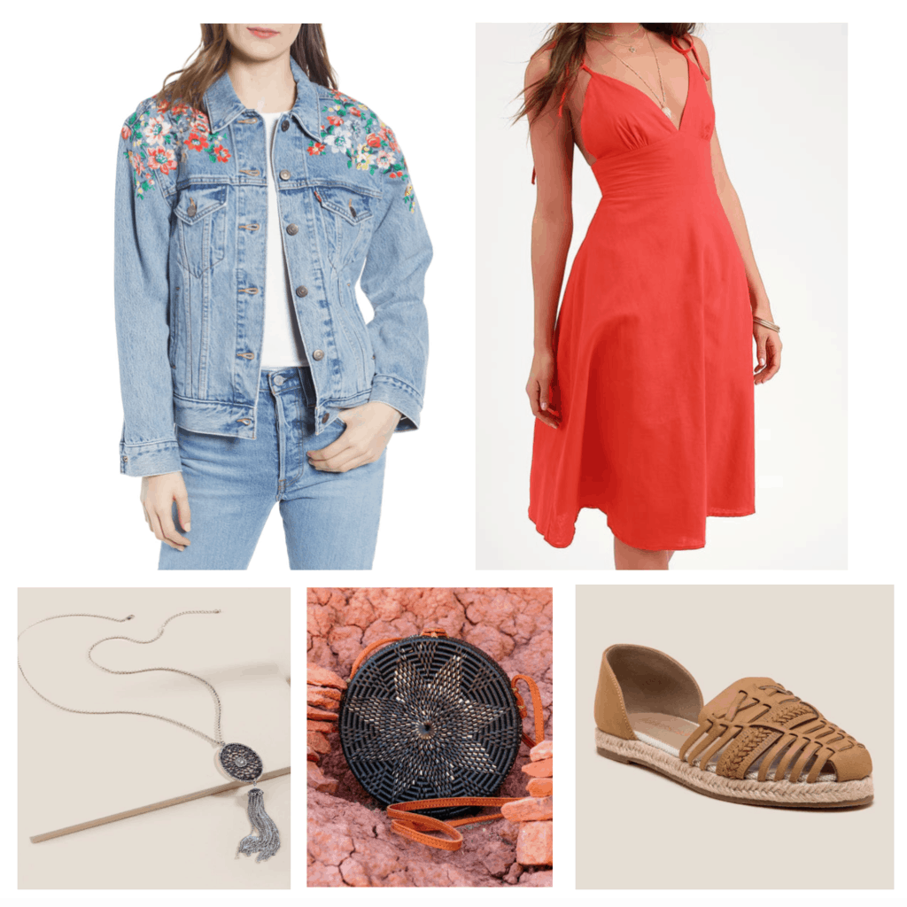 Boho outfits: Cute look for going out with red dress, circle purse, espadrille flats, floral denim jacket