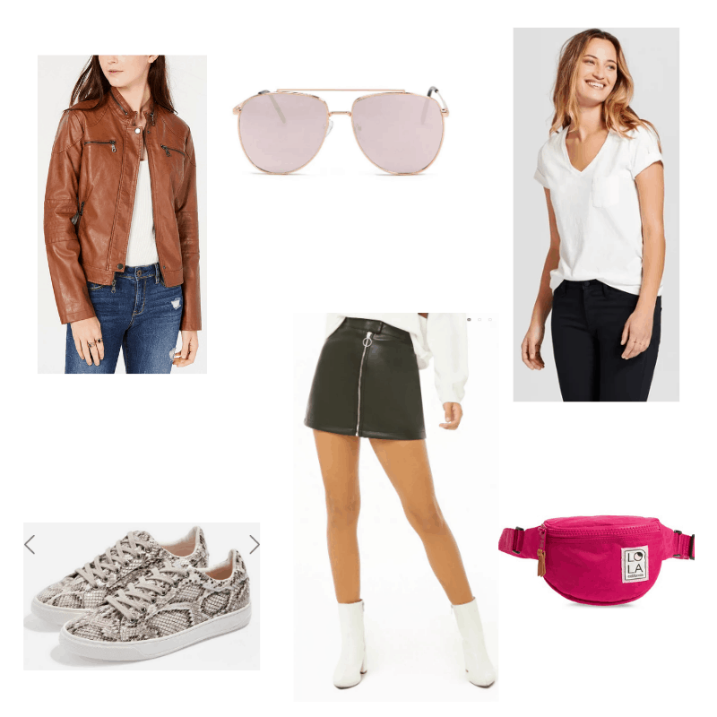 Edgy mini skirt outfit with brown leather jacket, white tee, black leather miniskirt, mirrored aviator sunglasses, snakeskin sneakers, and hot pink belt bag