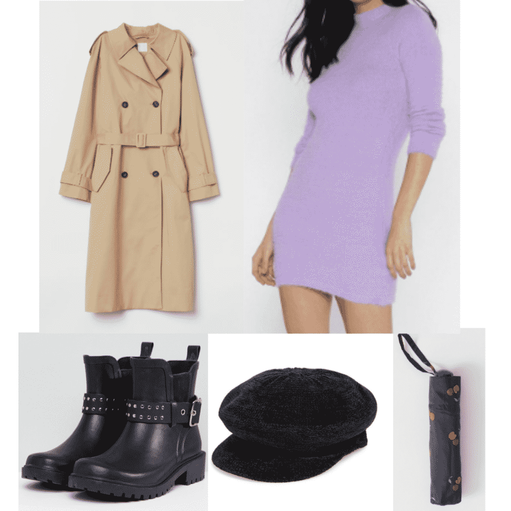 What to wear in England: classic tan trench coat, purple sweater dress, moto rain boots, black newsboy cap, cherry packable umbrella