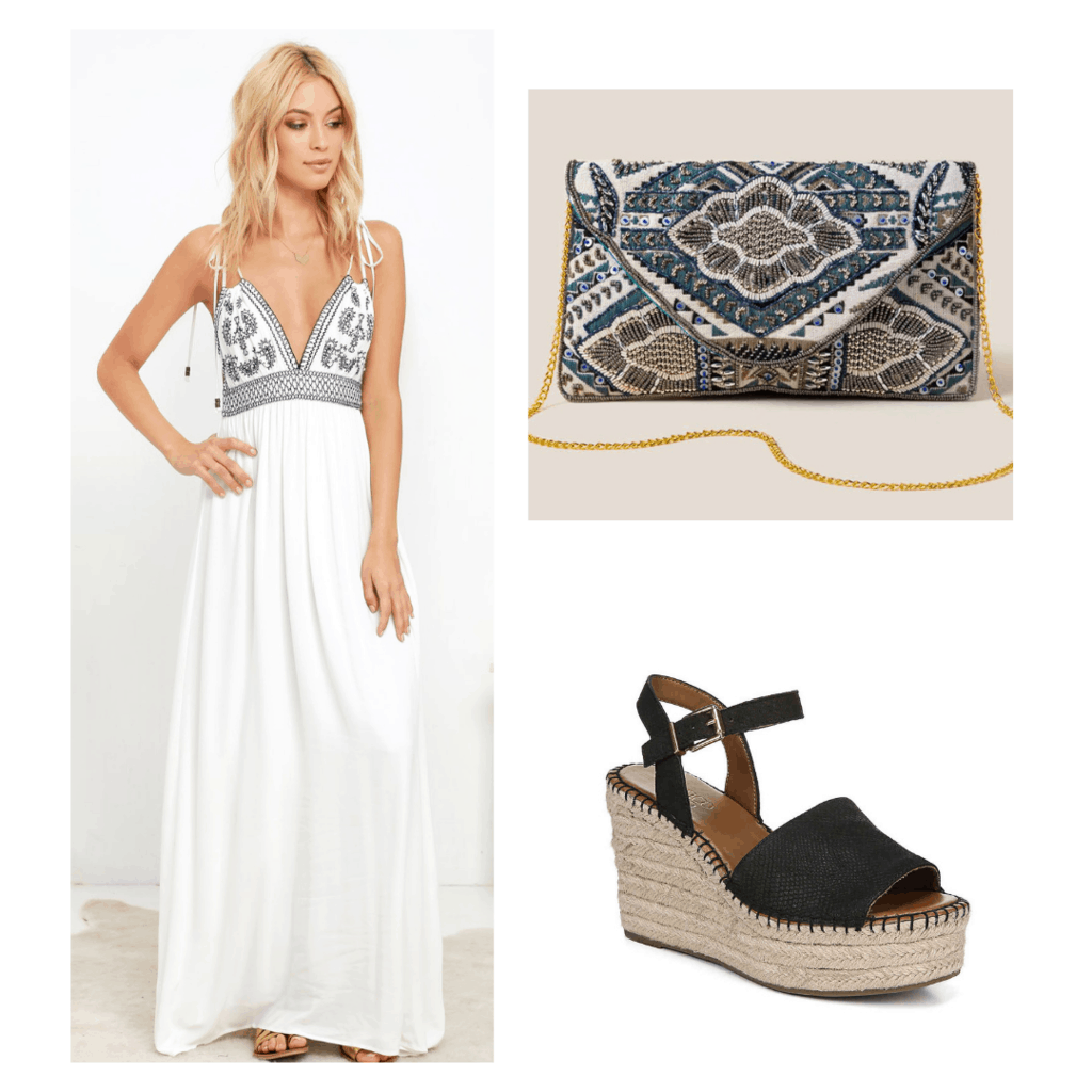 Boho outfit for a night out with white v-neck dress, platform espadrilles, patterned clutch bag