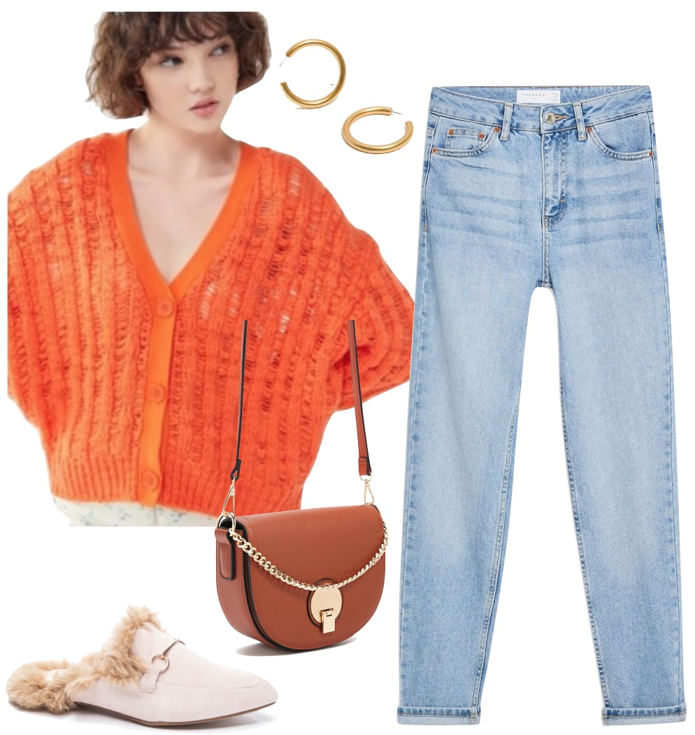 Hailey Bieber Outfit: orange cardigan sweater, chunky gold hoop earrings, light wash straight leg jeans, brown and gold crossbody bag, and faux fur mule flats