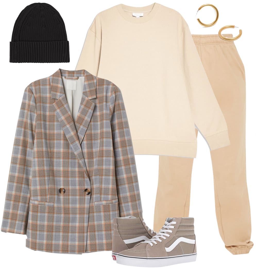 Hailey Baldwin Bieber Outfit: beige sweatshirt, camel colored jogger sweatpants, chunky gold hoop earrings, black beanie hat, plaid blazer jacket, and taupe Vans high top sneakers