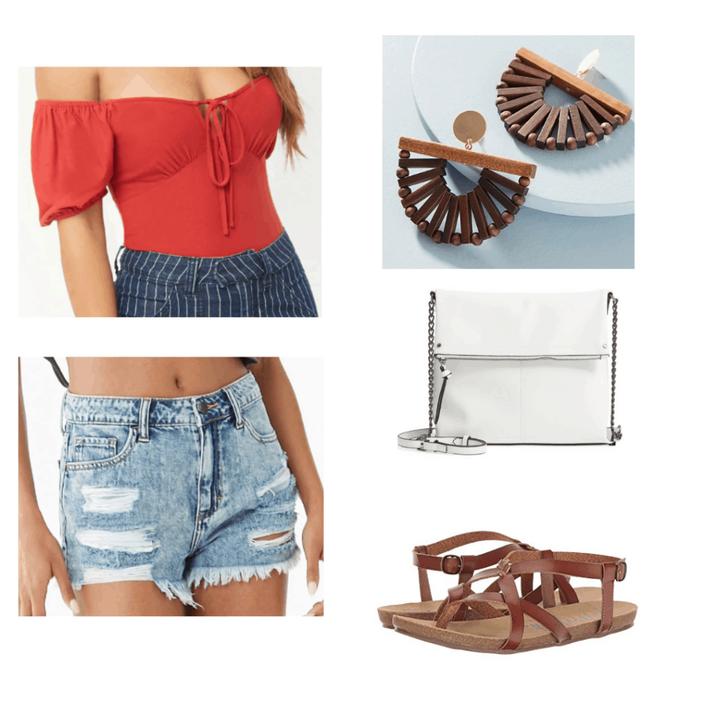 off the shoulder red top, wooden earrings, distressed denim shorts, white cross body bag, brown sandals