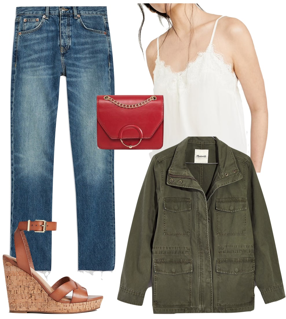 Jenna Dewan Outfit: off white lace trim cami top, green surplus jacket, straight leg raw hem jeans, red and gold ring crossbody bag, and tan cork heel wedges