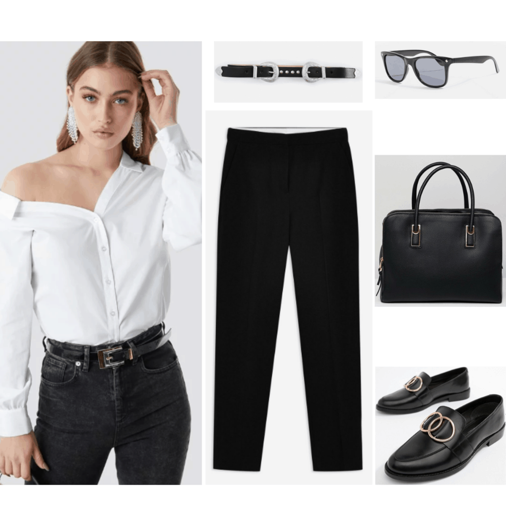 Jimin BTS fashion: Outfit inspired by Jimin's style with black pants, loafers, top handle purse, belt, wayfarer sunglasses