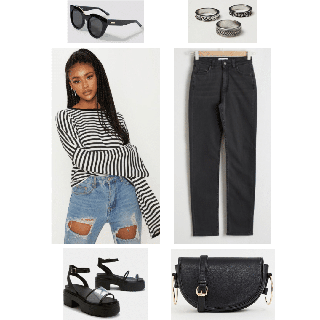 6d0cf8a9 Jimin BTS fashion: Outfit inspired by Jimin's style with striped top, black  pants,