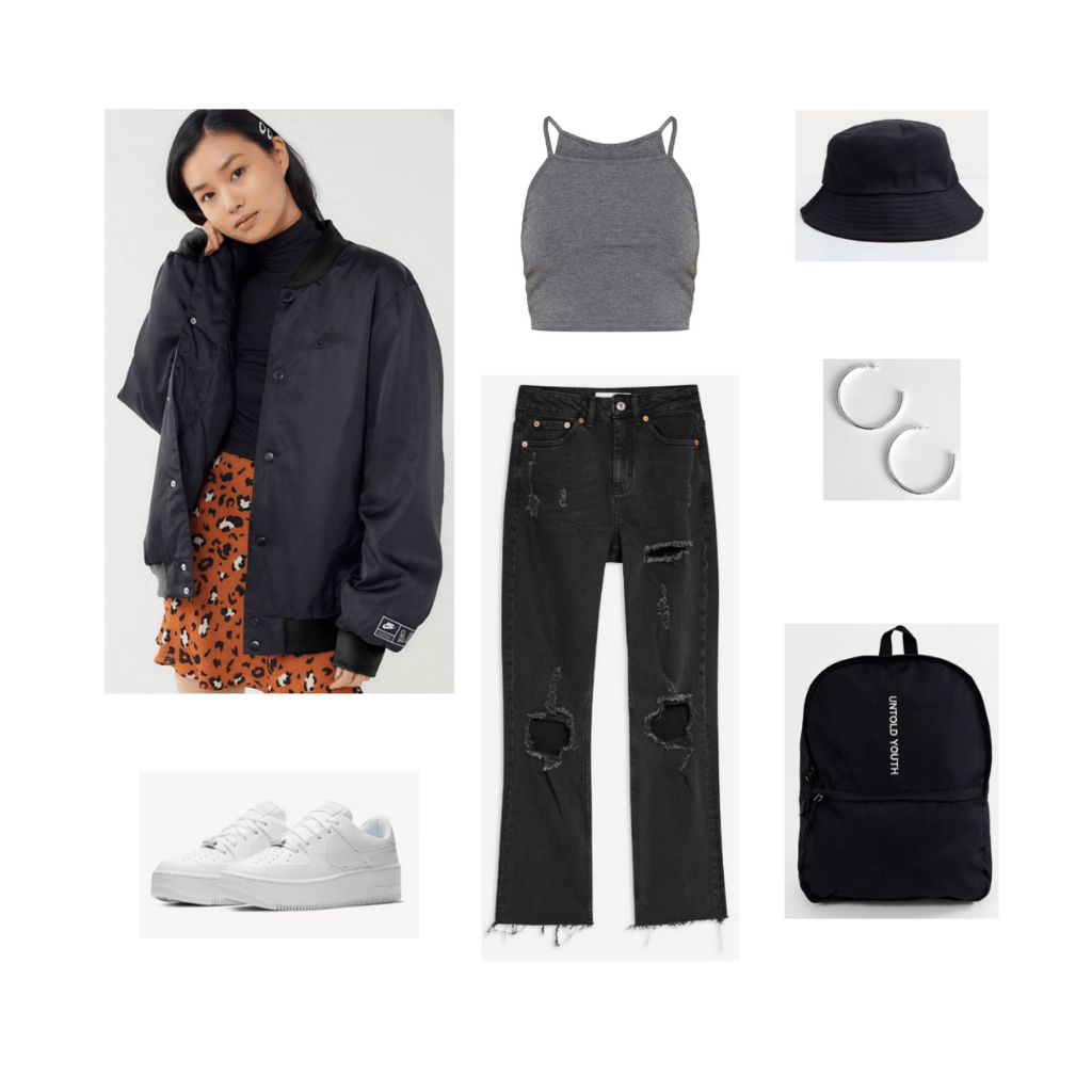 Jungkook BTS fashion: Outfit inspired by Jungkook with black bomber jacket, ripped jeans, crop top, bucket hat, platform sneakers