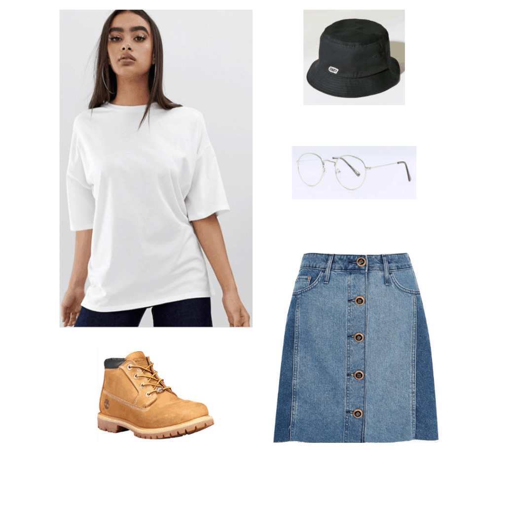 Outfit inspired by Jungkook from BTS: White oversized tee, Timberland boots, bucket hat, glasses, denim skirt