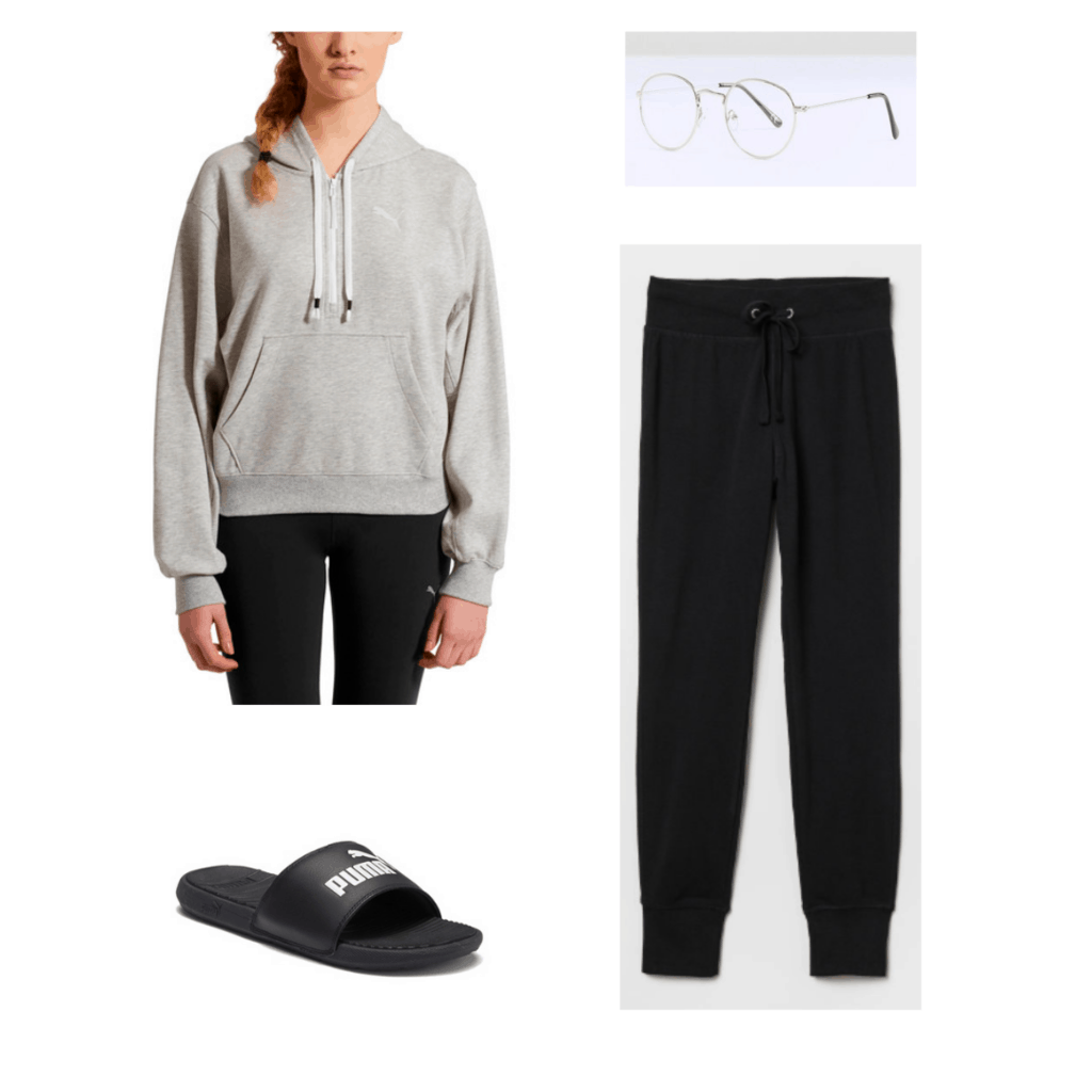 Jungkook BTS fashion: Outfit with puma sweatshirt, black sweats, puma slides, and clear glasses