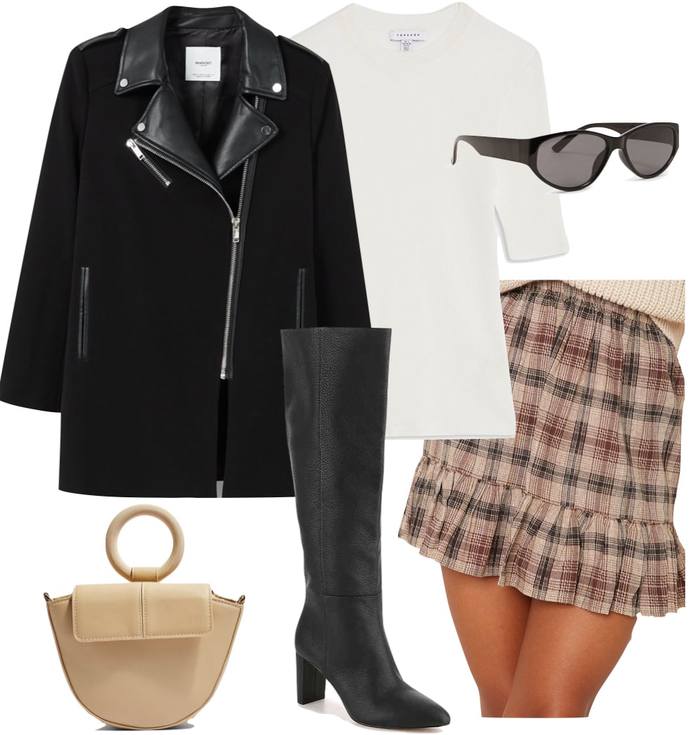 Lily Rose Depp Outfit: black faux leather panel mid-length coat, white ribbed top, beige plaid mini skirt, black oval sunglasses, black knee high boots, and neutral colored grab bag