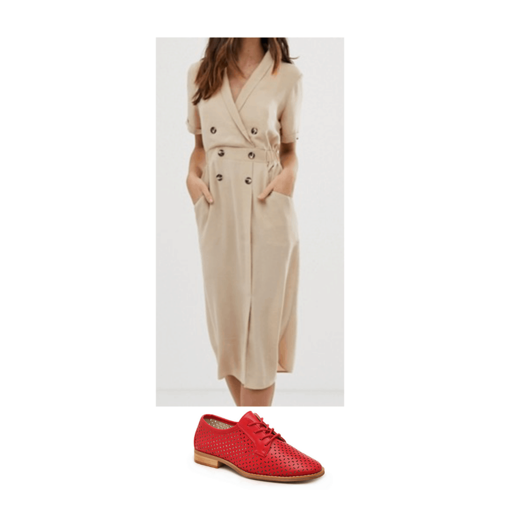 Outfit inspired by Amal Clooney with button down dress and red oxfords