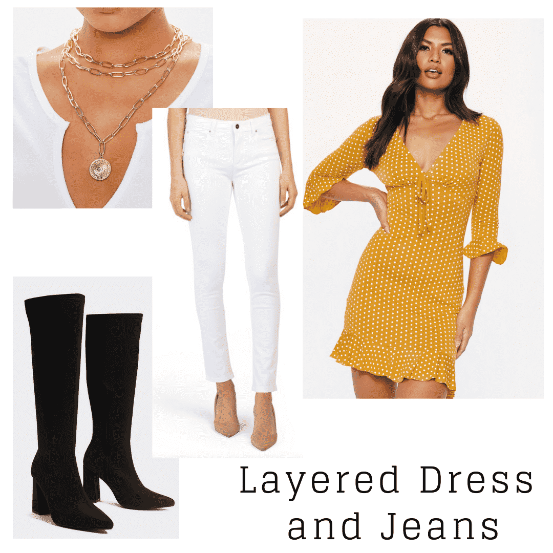 outfit panel with yellow and white polka dot dress, white skinny jeans, black boots, and a gold necklace