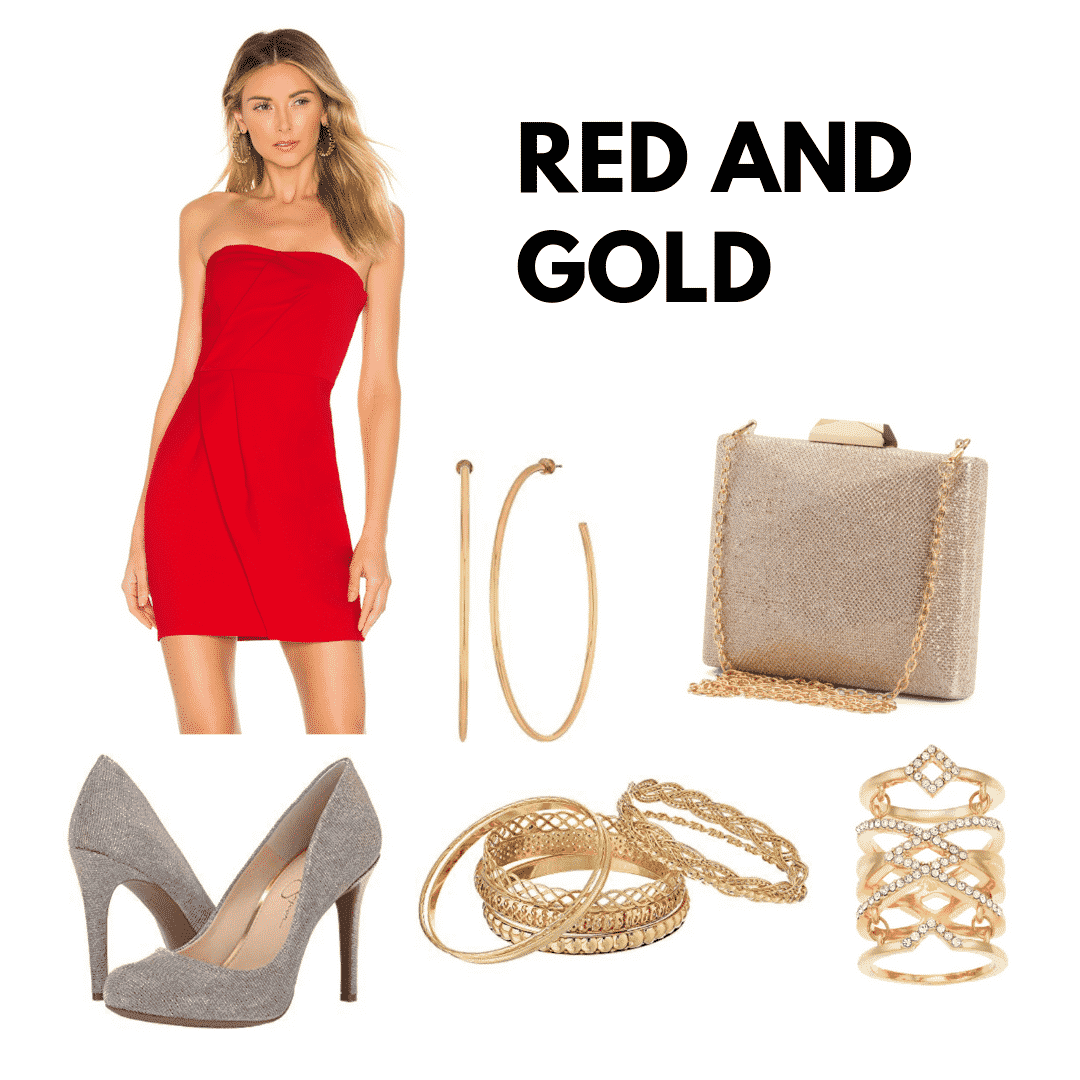outfit panel with a red mini dress, gold glitter heels, gold hoop earrings, gold bangles, a gold ring, and gold clutch