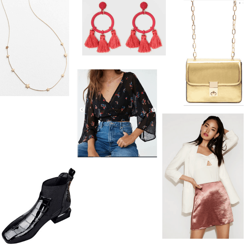 Night Out outfit with floral top, satin mini skirt, black Chelsea boots, metallic gold crossbody bag, star necklace, and bright red hoop tassel earrings.