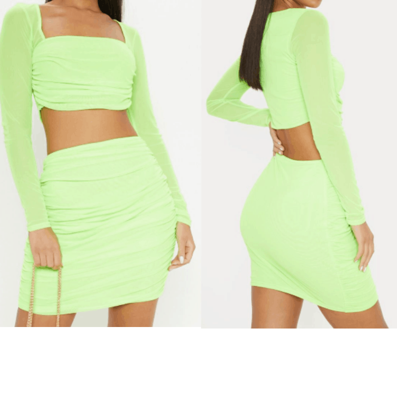 Vacation outfit inspired by Kylie Jenner with neon green two piece dress
