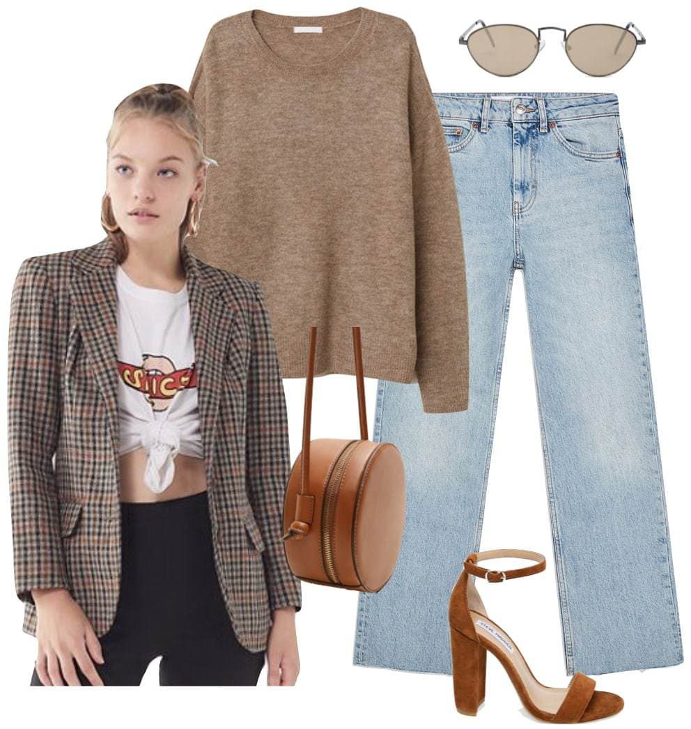 Nina Dobrev Outfit: brown sweater, light wash straight leg jeans, plaid blazer, small oval sunglasses, cognac round bag, and cognac brown block heel sandals