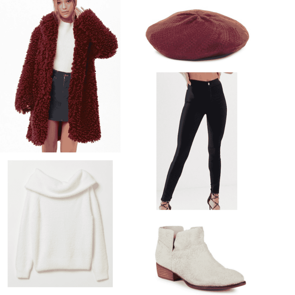 red shaggy coat, black skinny jeans, off the shoulder white sweater, white ankle boots, red beret