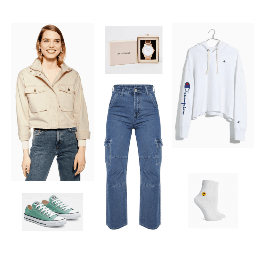 BTS Persona fashion: Outfit inspired by the Persona trailer with cream jacket, wide leg jeans, white hoodie, green sneakers