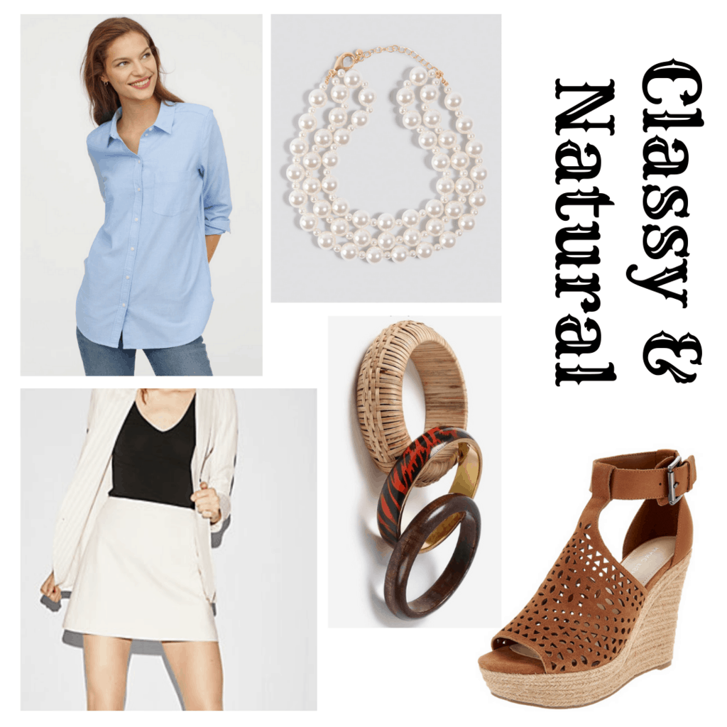 outfit panel with blue button up, white skirt, brown wedge heels, bangles, and pearl layered necklace