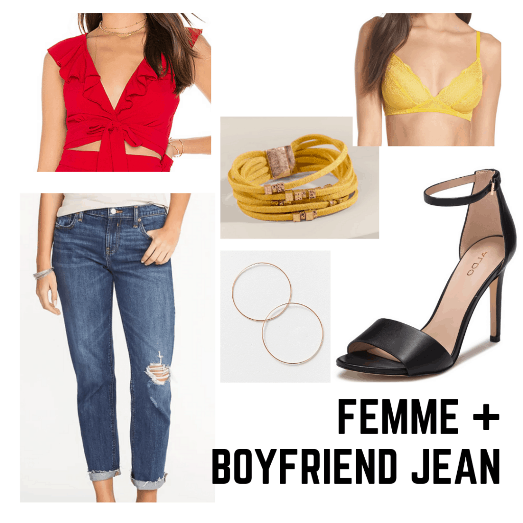 Rihanna 2000s style: outfit with crop top, bralette, boyfriend jeans, bracelet, hoop earrings, and strappy heels.