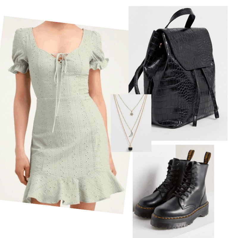 Sundresses and boots outfit with sage green sundress, doc martens, layered necklaces, snakeskin backpack