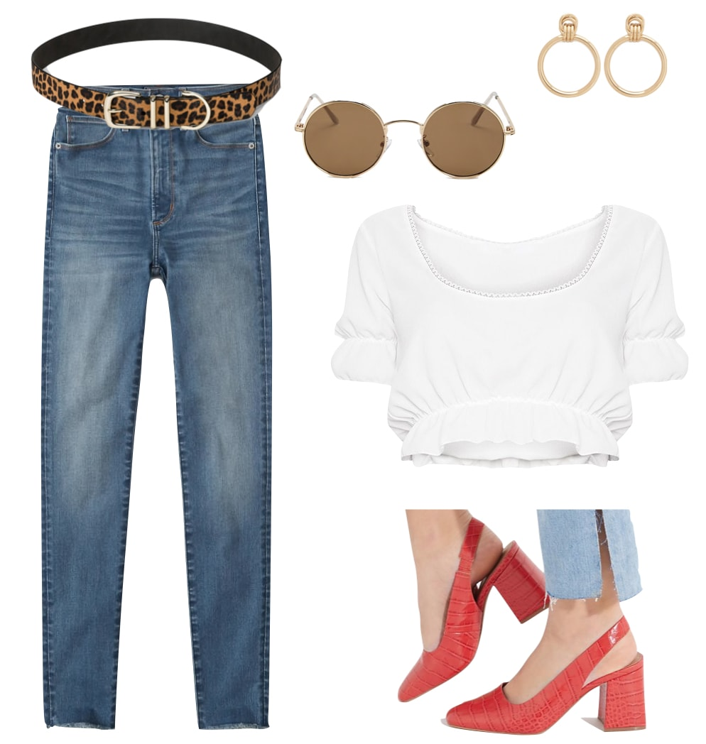 Sarah Hyland Outfit: white square-neck crop top, skinny jeans, gold door knocker earrings, leopard print belt, round sunglasses, and red crocodile slingback pumps