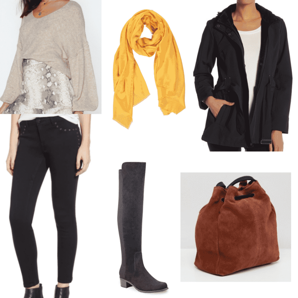 ballon sleeve sweater, mustard yellow scarf, winter softshell jacket, studded black skinny jeans, over the knee boots, suede brown bucket bag