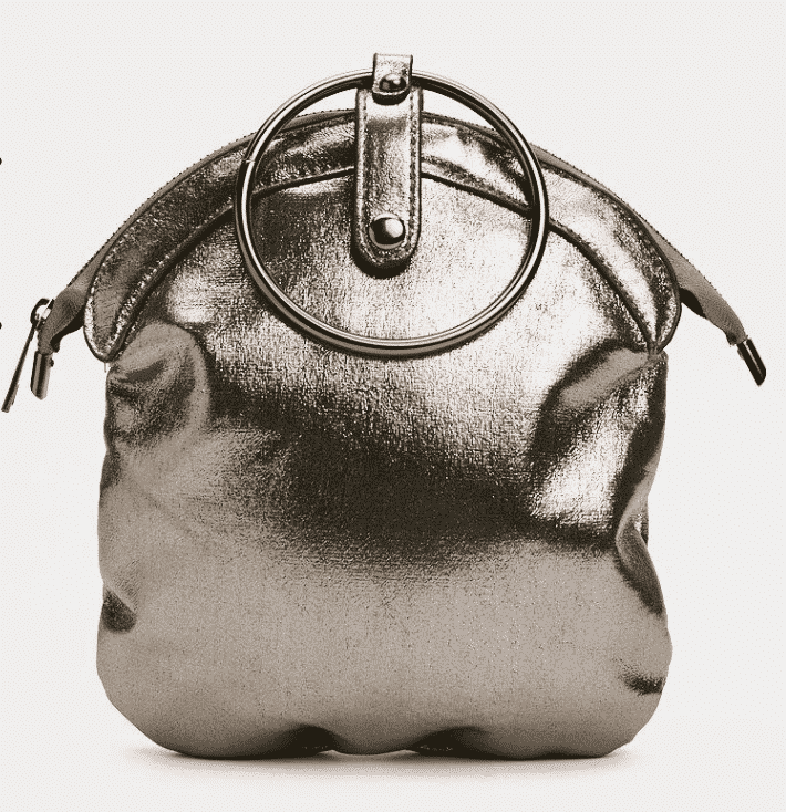 metallic bag with a metal circle handle