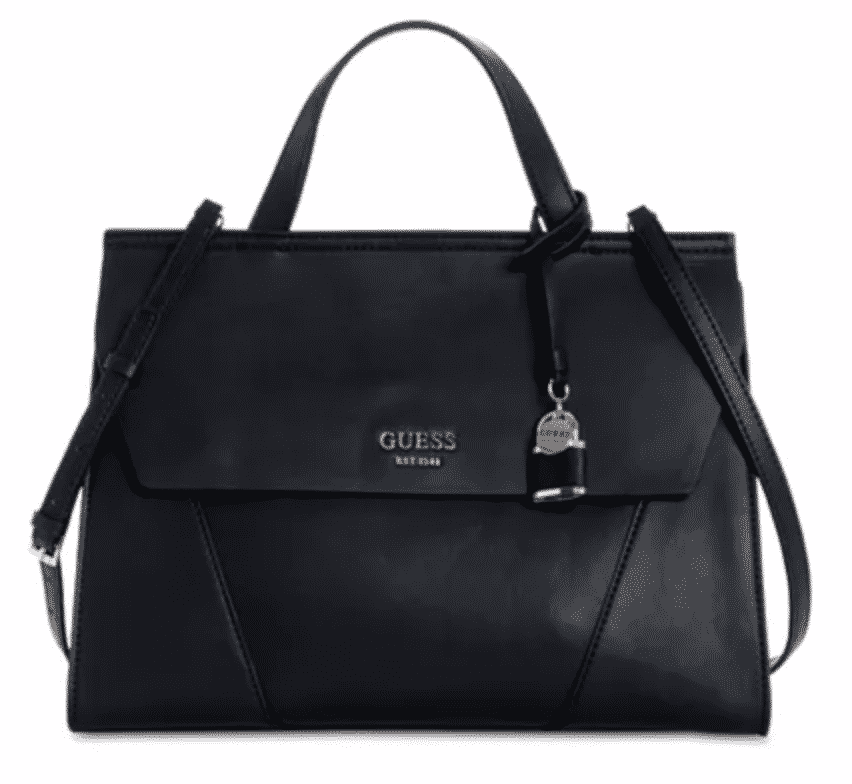 black top handle bag with flap and lock