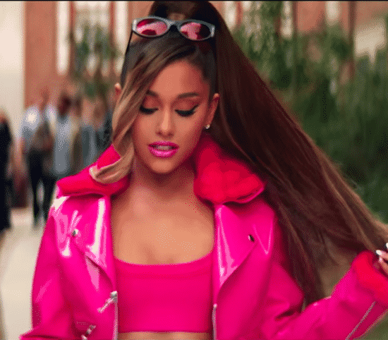 Ariana Grande Walking in an all pink outfit