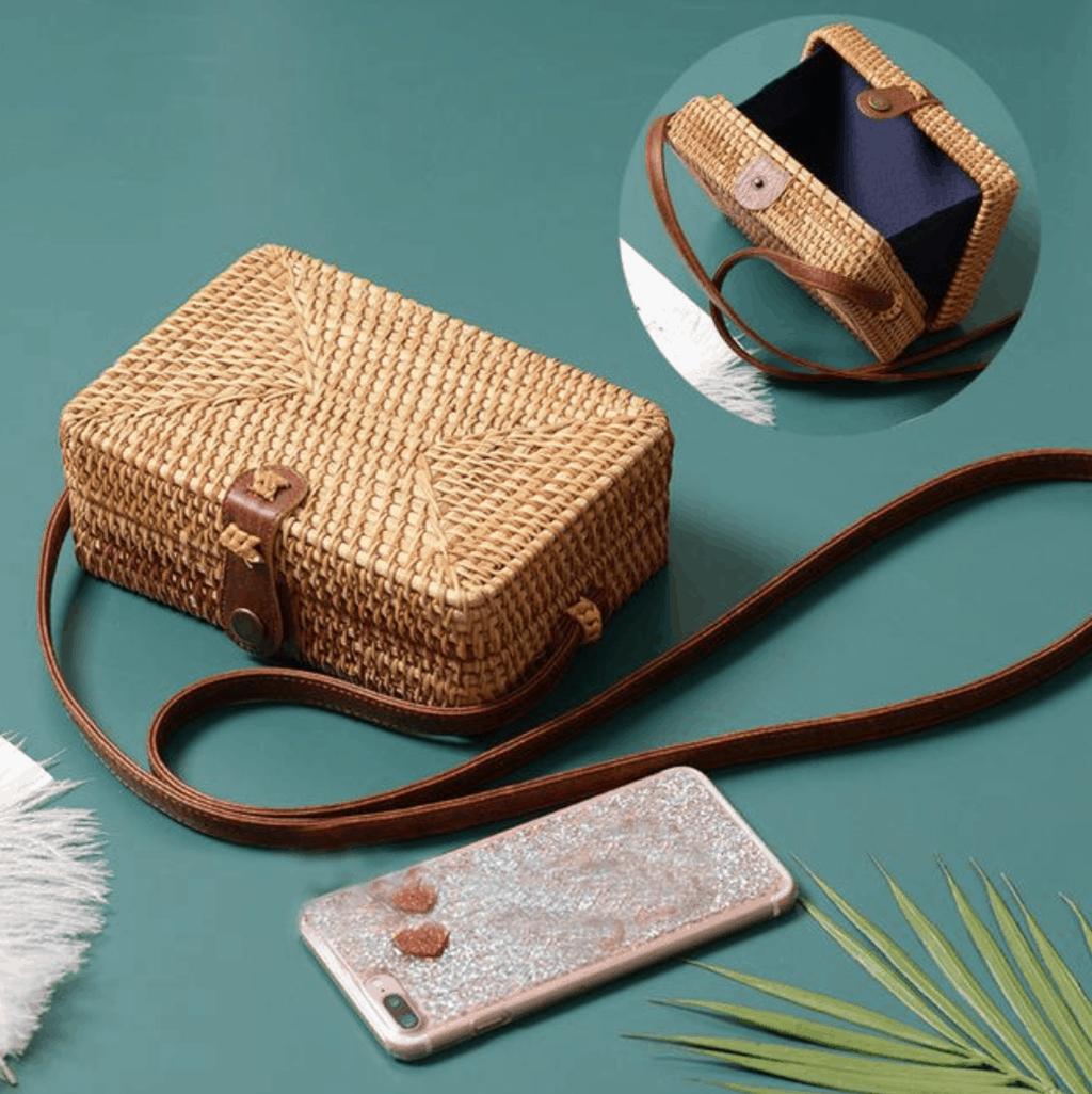 rectangular woven basket bag