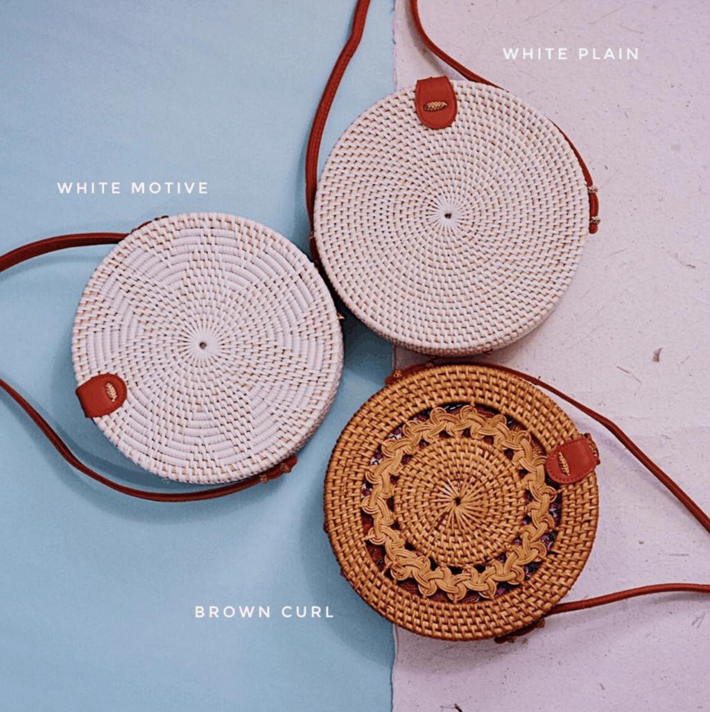 three circle woven bags