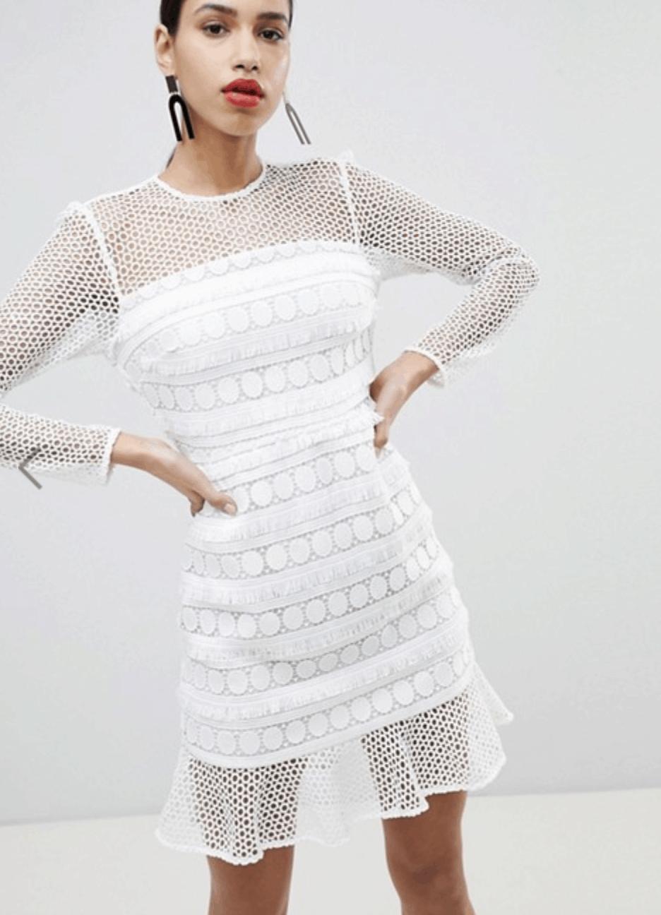 model in long sleeve, white, net shift dress.