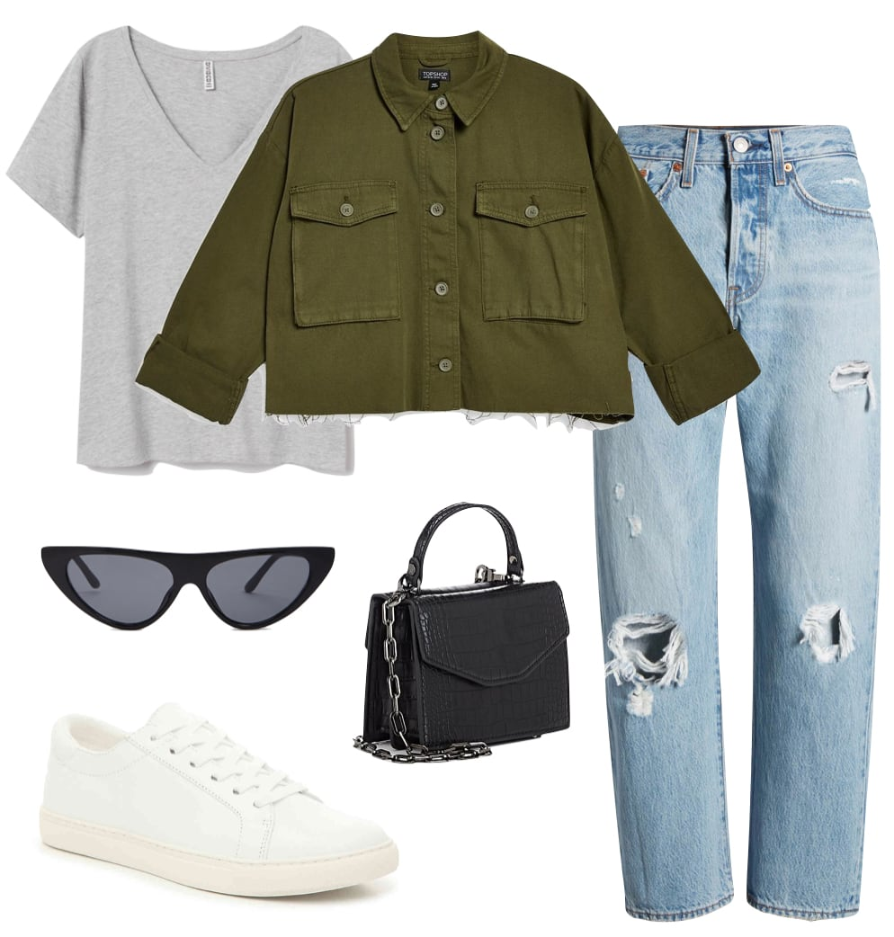 Sofia Richie Outfit: gray short sleeve t-shirt, green cropped jacket, ripped straight leg jeans, black flat top cat-eye sunglasses, black mini bag, and white low-top sneakers