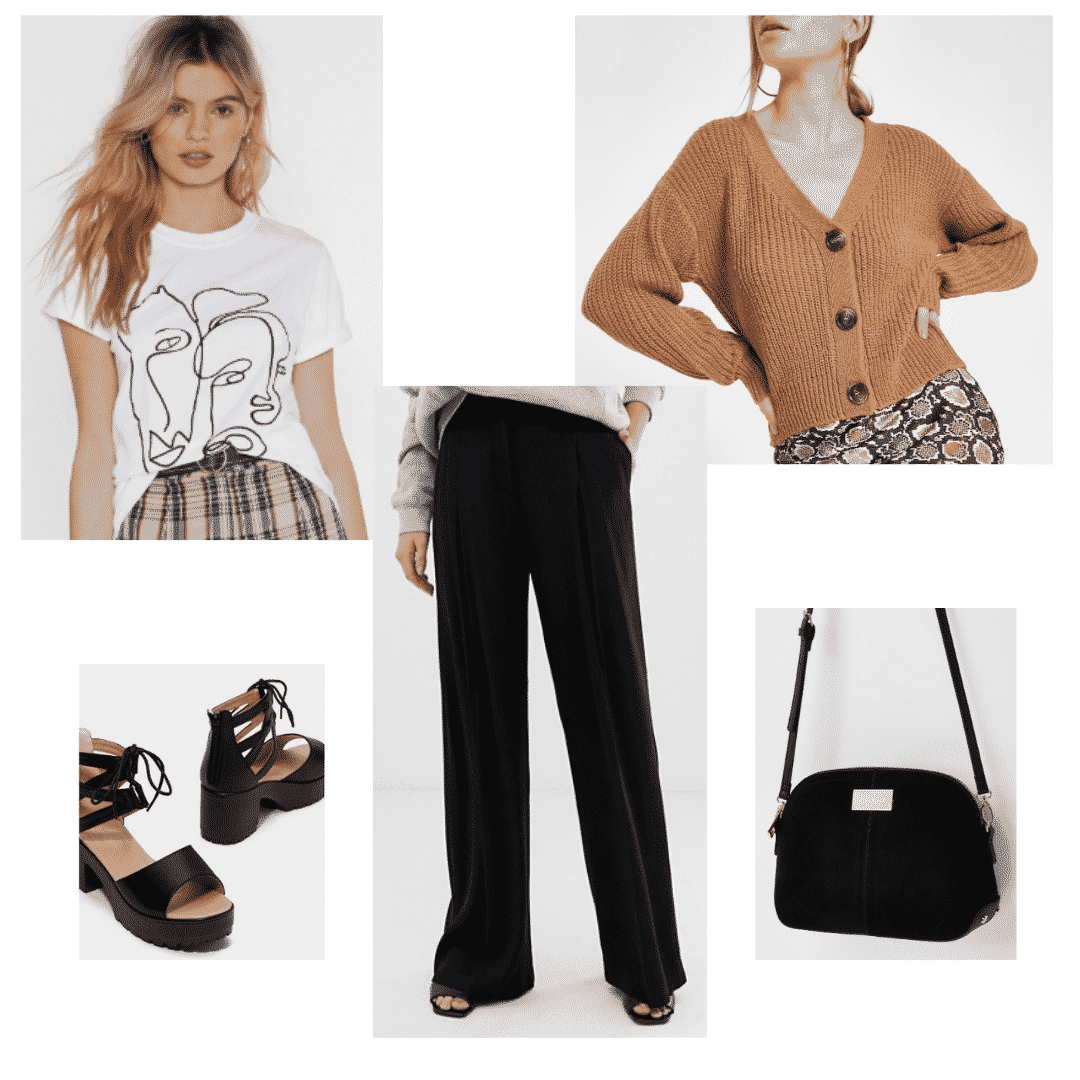 V BTS fashion: Outfit with graphic tee, wide leg pants, button front sweater, lace up platforms, black bag