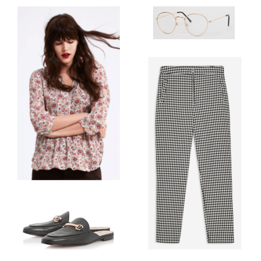 V bts fashion: Outfit with floral blouse, gold rimmed glasses, houndstooth pants, loafers