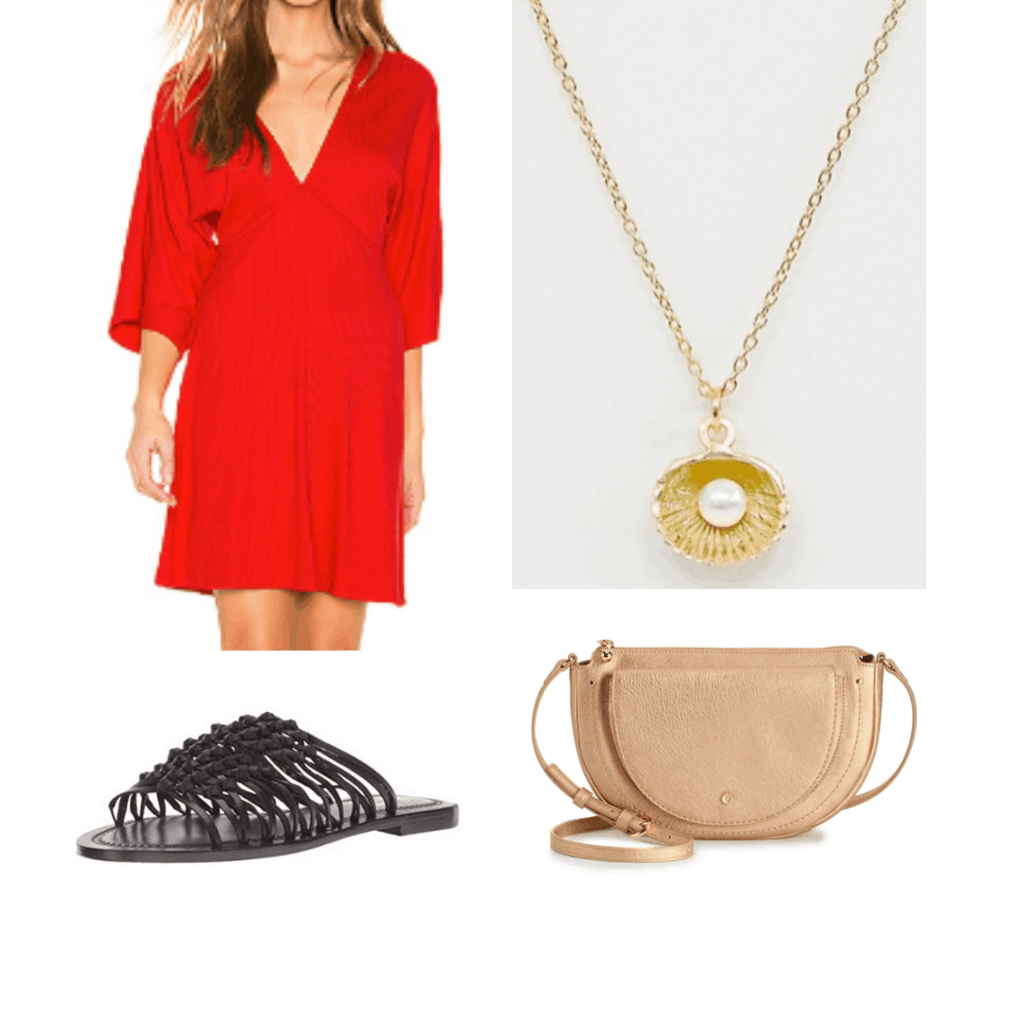 Outfit for Cuba: red dress, shell pearl necklace, black sandals, gold cross body bag