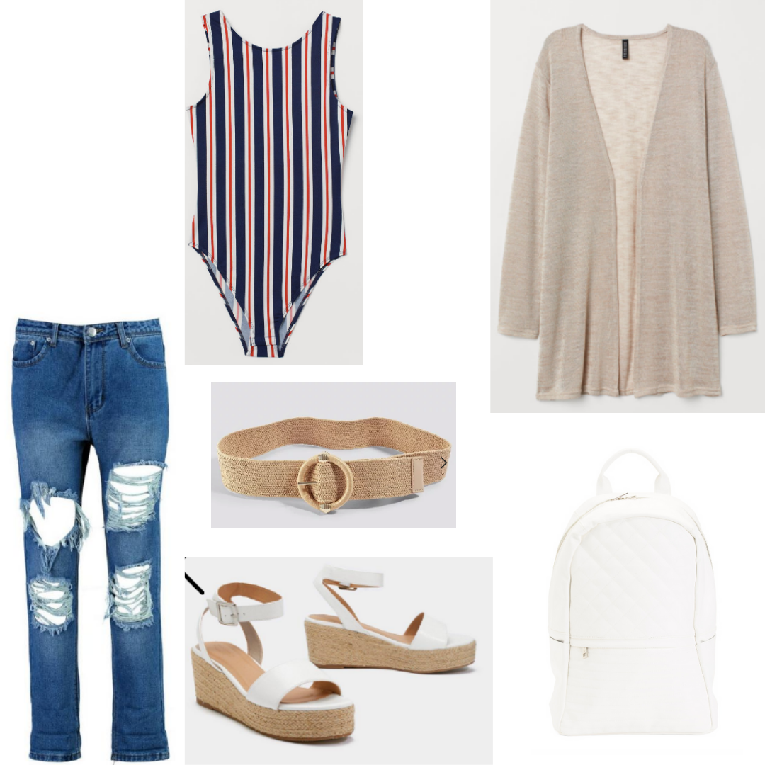 Striped bodysuit outfit for daytime with beige cardigan, boyfriend jeans, platform espadrilles, belt, white backpack